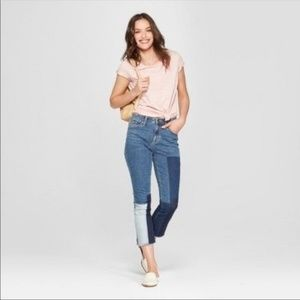 Universal Thread | Patchwork Hi Rise Crop Jeans